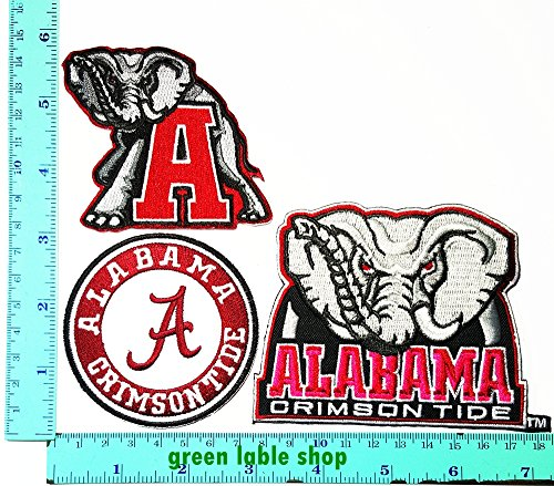 Alabama Crimson Tide Applique (New Set Alabama Crimson Tide Team Patch Logo Sew Iron on Embroidered Appliques Badge Sign Costume)