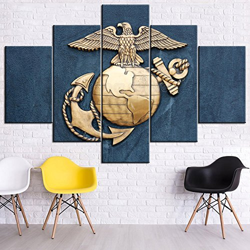 Marine Corps Pictures Poster Prints on Canvas United States Navy Blue Paintings 5 Piece Wall Art Modern Artwork Home Decor Living Room Giclee Wooden Framed Gallery Wrapped Ready to Hang(60''Wx40''H)