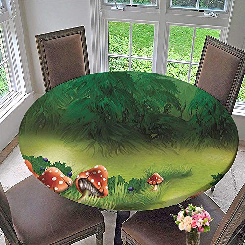 Mikihome Simple Modern Round Table Cloth Agarics Magical Wonderland Lawn Meadow Scenery Greenwood Design for Daily use, Wedding, Restaurant 47.5