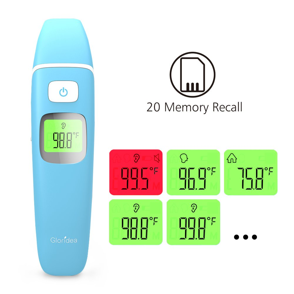 Ear and Forehead Thermometer Medical Baby Thermometer, Professional Precision Infrared Digital Thermometer, 1 Second Measurement Time Memory Recall and Fever Warning,Blue Gloridea by Gloridea (Image #3)