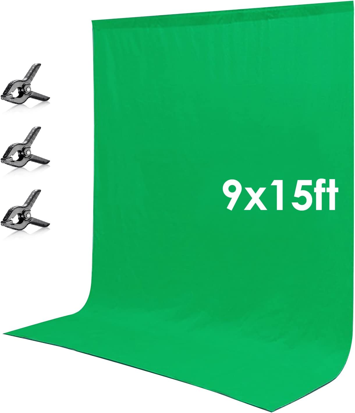 Neewer 2.7x4.6 Metros Pantalla de Fondo Chromakey Musel Verde Telón de Fondo con 3 Pinzas para Fotografía de Foto Video Estudio