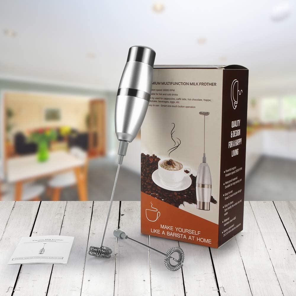 Ailiebhaus Electric Milk Frother Stainless Steel Foam Maker Electric Mixer Powerful Quiet Latte Milk Egg Whisk with Dual Spring Whisk Heads