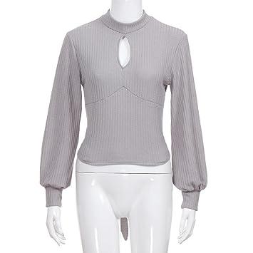 Longra☀ Blusa de Cuello Alto sólido de Las Mujeres de Alta Calidad de Punto Blusas