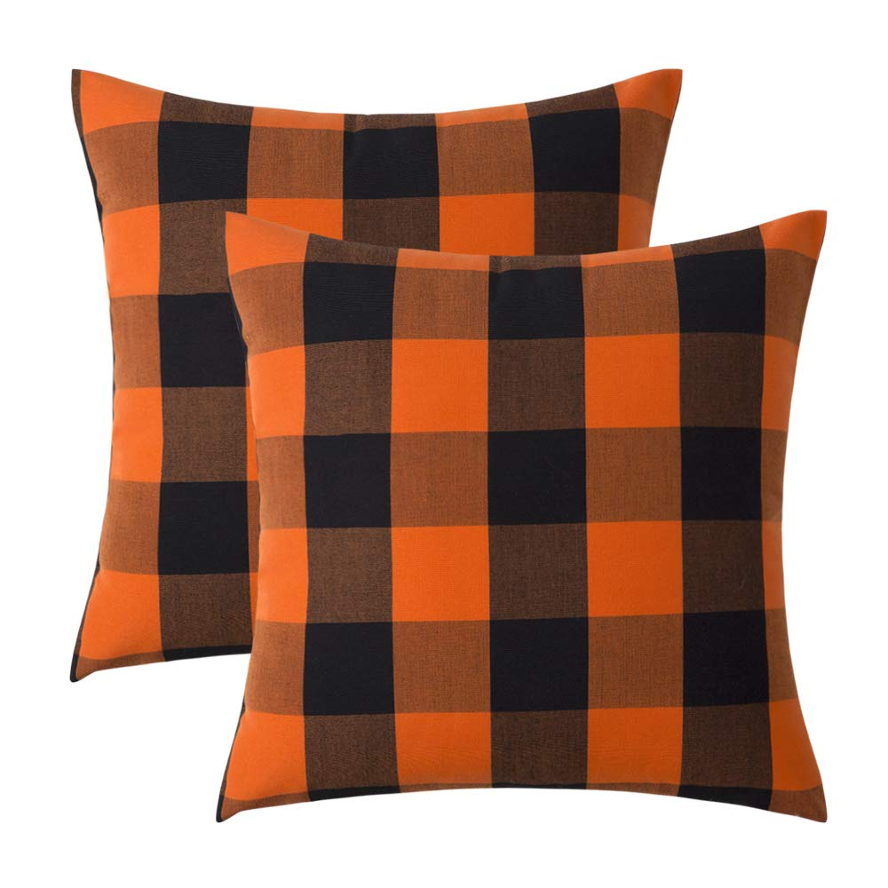 MIULEE Pack of 2 Buffalo Check Retro Checker Plaids Accent Throw Pillow Covers Cotton Linen Cushion Case for Sofa Couch Orange and Black 18 x 18 Inch ...