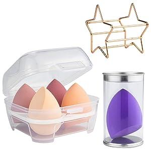 5 PCS Makeup Sponge - Soft Non-latex Beauty Blender Sponge for Liquid Foundation, Cream, Blusher, Concealer- Blending Sponges with Case, Holder & Drying Stand