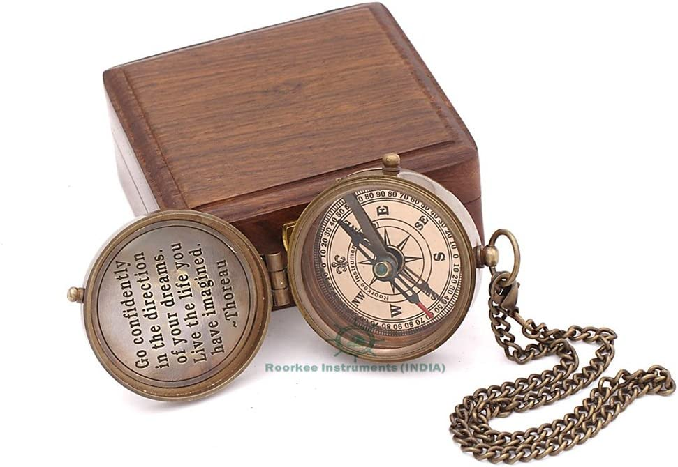 Roorkee Instruments India Thoreau s Famous Quote Engraved Compass with Indian Rose Wood case, Camping Compass, Baptism Compass, Gift Compass, Graduation Day Gifts.