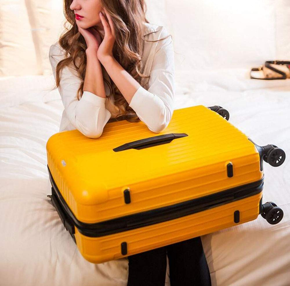 Unisex 360 Degree Universal Wheel Suitcase Pc Material Yellow Business Trolley Case