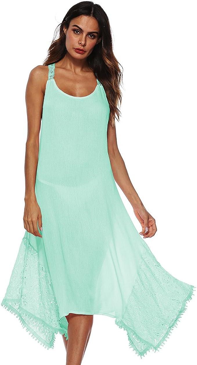 Shujin Damen Sommer Elegant Spitzen Kleid V Ausschnitt Rückenfrei