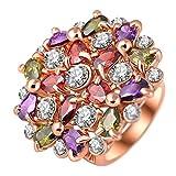 """RI06002 """"Hundred Flowers"""" Austrian Crystal 18K Ring"""