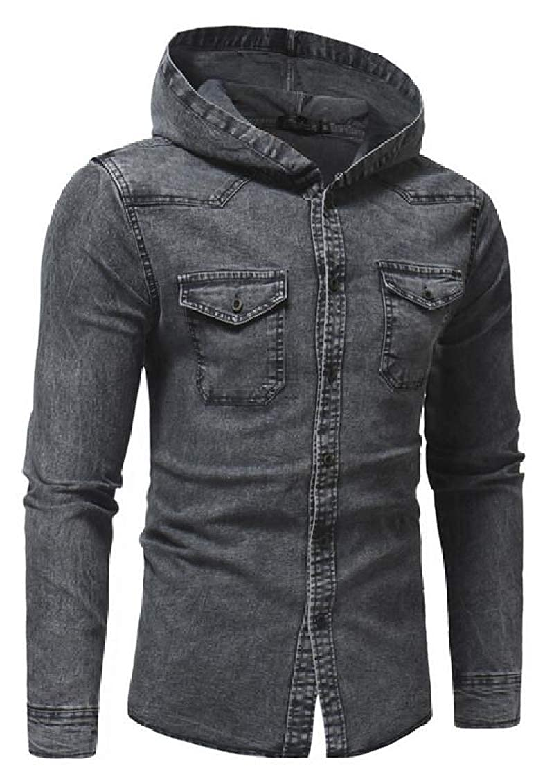 Lutratocro Mens Casual Slim Fit Hooded Long Sleeve Faded Denim Shirts