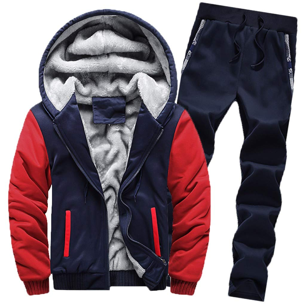 Men's Winter Thicken Fleece 2 Piece Hoodie Sweat Suit Full Zipper Tracksuit Set Coat + Pants Sport Set BingYELH