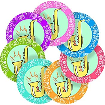 Music Saxophone Reward Sticker Labels Children Teacher Praise Parent School