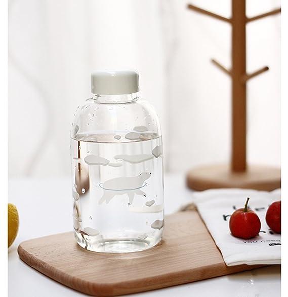 fecihor cristal botella de agua, botella de agua transparente con pingüino impresión apto para agua, cerveza, zumo de frutas, crema: Amazon.es: Deportes y ...