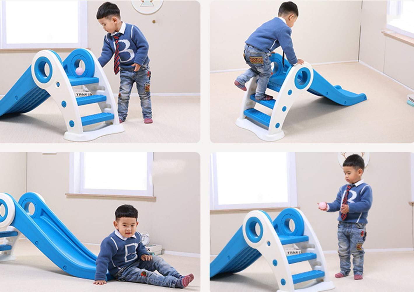 Thole Slide Climber fold Indoor Outdoor Backyard Use First Playground Plastic Play Boys Girls,Blue by Thole (Image #2)