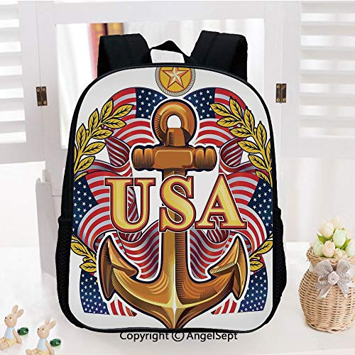 Backpack for Kids,Royal USA Anchor with American Flag Leaves and Star Force War Honor Medal Print Printed Children School Backpack Cool Bookbag,Multicolor