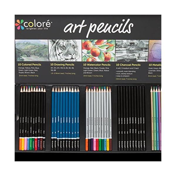 Paquete de lápices para arte Colore Premium; juego de 50 lápices surtidos para colorear hojas y libros; de colores, acuarelas, para dibujar, de carbón vegetal y lápices de color metálico para estudiantes, niños y adultos; útiles escolares.