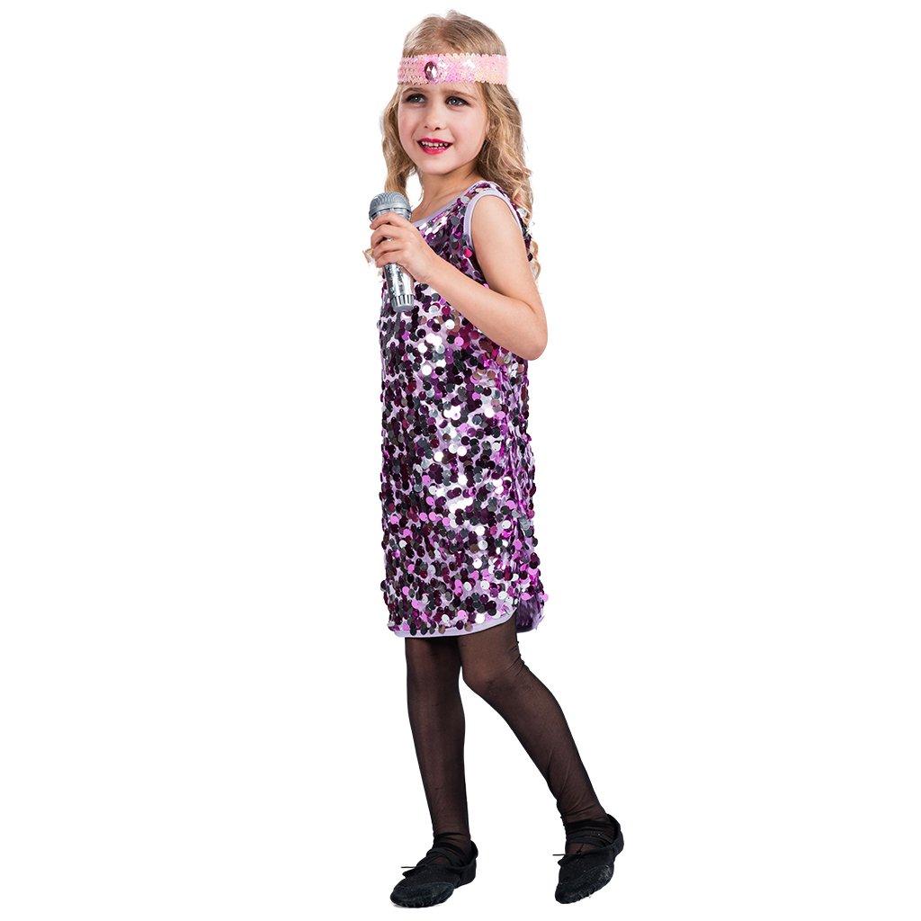 EraSpooky Disfraz Vestido de Disco Diva para Niña: Amazon.es ...