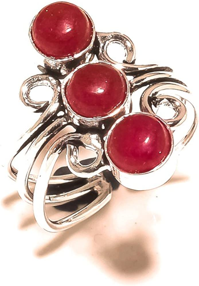 Sizable Ancient Style Red Dyed Ruby Handmade Jewellry 925 Sterling Silver Plated 5 Grams Ring Size 8 US