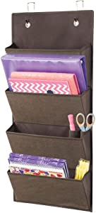 mDesign Soft Fabric Wall Mount/Over Door Hanging Storage Organizer - 4 Large Cascading Pockets - Holds Office Supplies, Planners, File Folders, Notebooks - Textured Print - Espresso Brown
