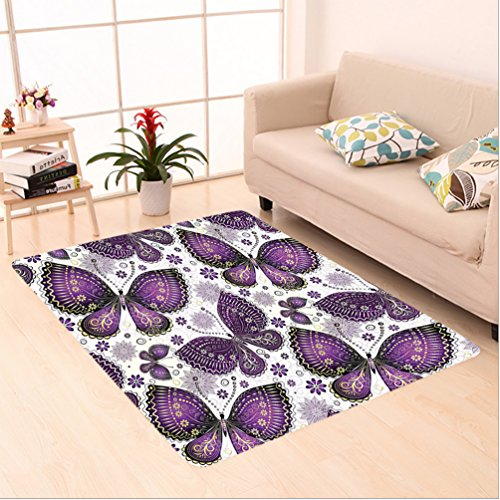 Rug Paisley Butterfly (Nalahome Custom carpet l Ethnic India Asian Butterflies with Paisley Motif on Wings Flowers Art Plum Purple Lilac White area rugs for Living Dining Room Bedroom Hallway Office Carpet (5' X 7'))