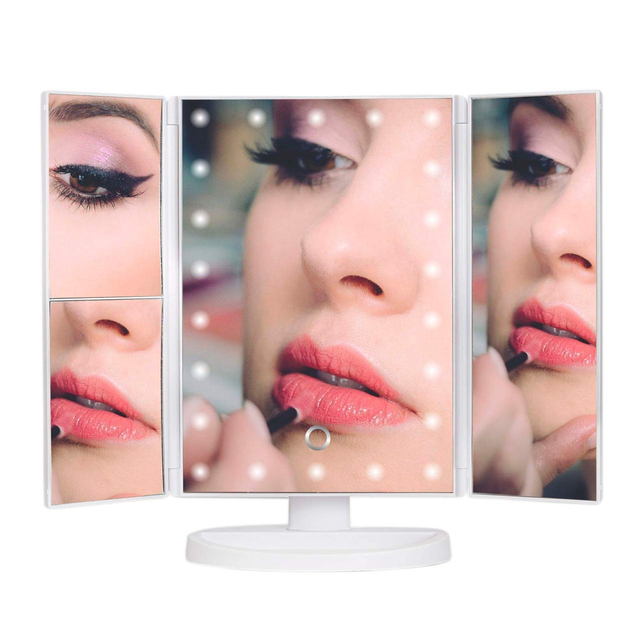 Amazed Forever Makeup Mirror with 22 LED Lights, Makeup Mirrors with 2x/3x Magnifier, Makeup Accessories, 180° Adjustable Rotation, Lighted Makeup Mirror, White
