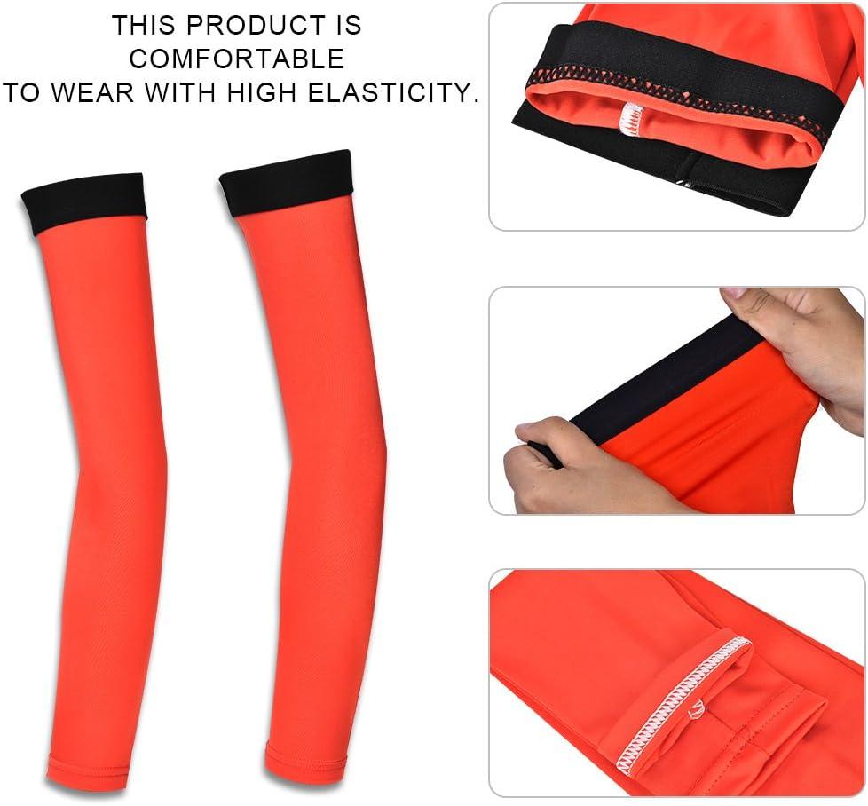 Dilwe 1 Paire Manches de Bras de Cyclisme pour Hommes Femmes Couverture Bras Compression Protection UV Respirant Rouge