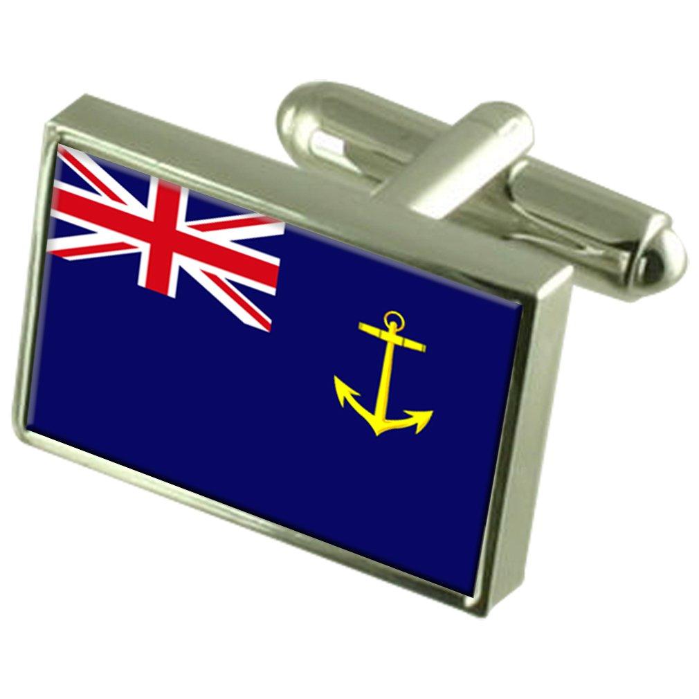 Royal Fleet Auxiliary Military England Flag Cufflinks Engraved Box