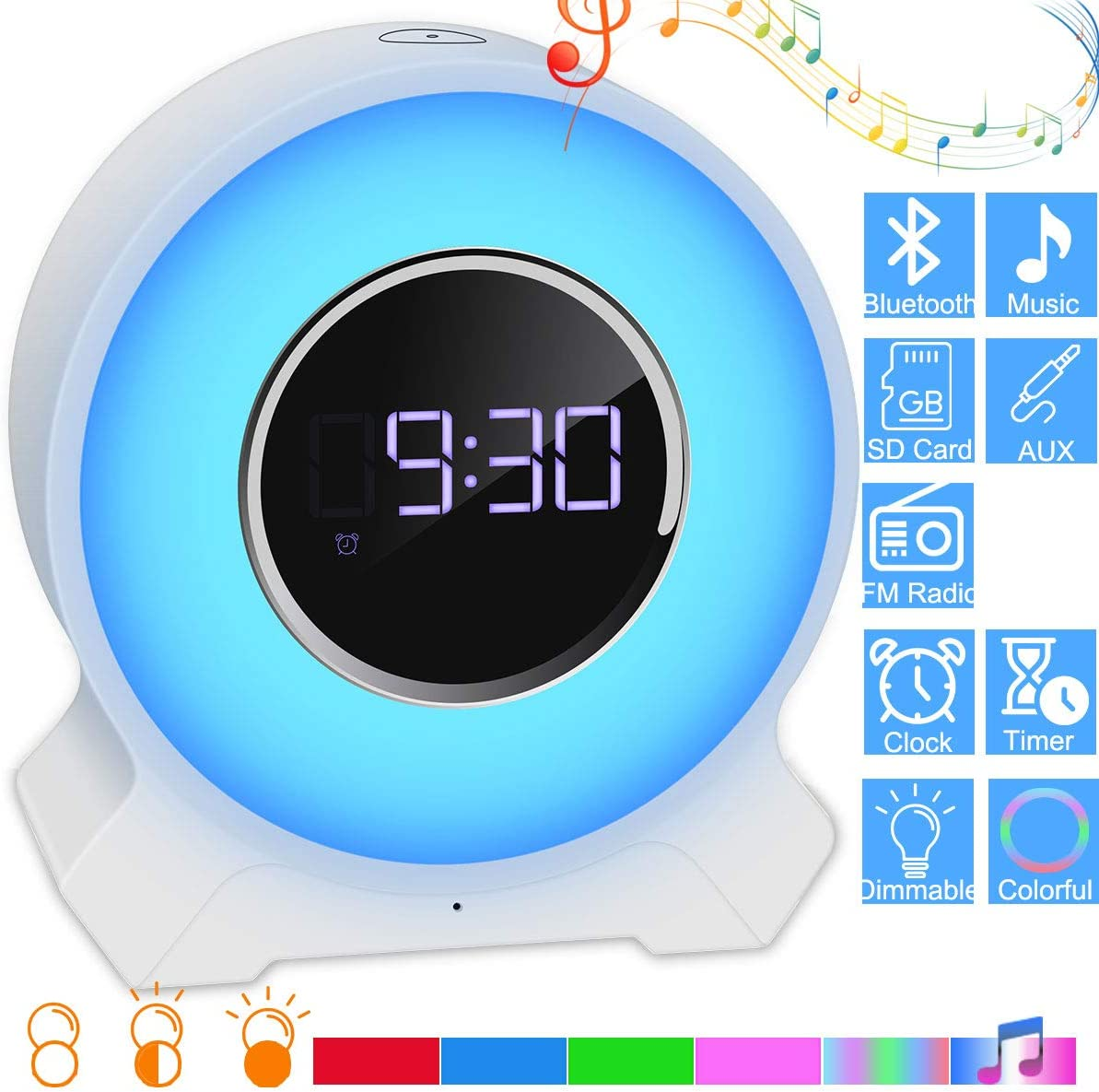 EVISTR Bedroom Bluetooth Speaker Alarm Clock – Touch Control Bedside Night Light Music Player Wireless Bluetooth Speaker with Melody Light Support Hands Free Phone Call, TF Card, Aux