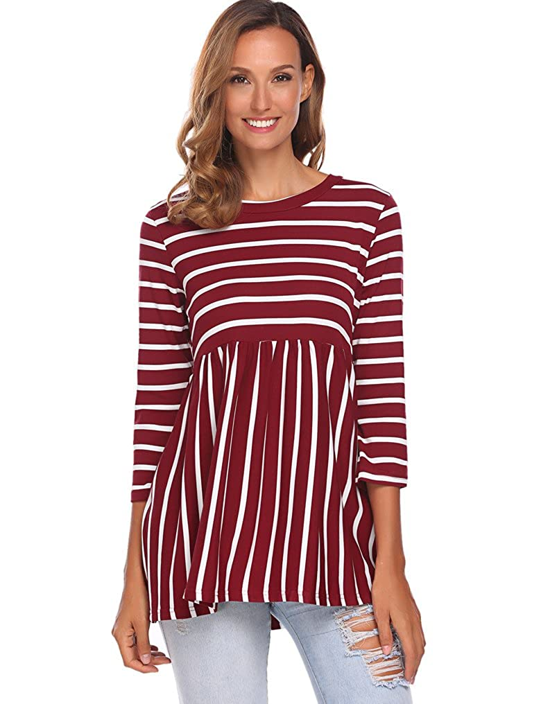 a759c0a30c9 Halife Women's Smock Neck 3/4 Sleeve Cotton Striped Shirts Tunic Tops with  Pockets at Amazon Women's Clothing store: