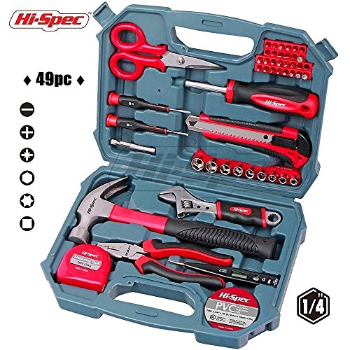 Hi-Spec 49pc Home, Office & Garage Tool Kit with Heavy Duty Hammer, Wrench, Pliers, Tin Snips, Socket Set, Utility Knife, Bit Driver & Screw Bits, Precision Screwdrivers, Measuring Tape & (Utility Snips)