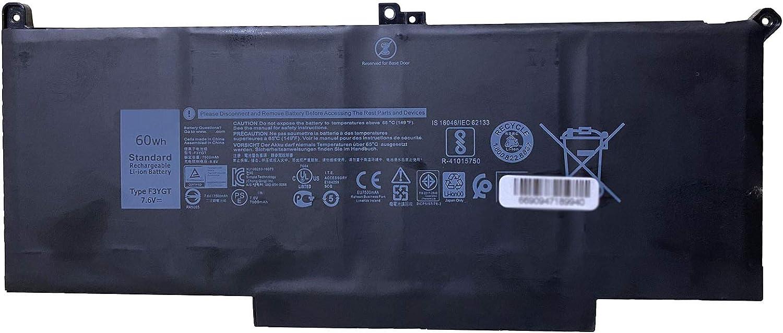 Dentsing F3YGT 7.6V 60Wh/7500mAh 4Cells Battery for Dell Latitude E7280 E7480 E7290 E7380 E7390 E7490 Series Laptop 2X39G DM3WC 0DM3WC