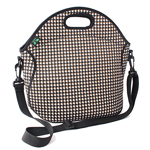 Neoprene Lunch Tote Washable Lunchbox Bag, Non-toxic Insulated Lunch Bag with Shoulder Strap Extra Pocket (White N2) for Office Picnic by F40C4TMP
