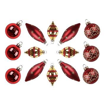 Valery Madelyn 14 Piezas Bolas de Navidad de Cristal Rojas y Doradas, Xmas Adornos con