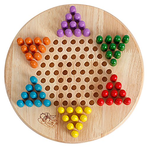 bodolo 2 in 1 Chinese Checkers & Gobang (Five in a Row) Wooden Board Games for Kids and Family (Board Wood Chinese Checkers)