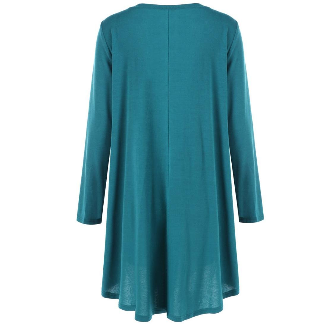 Toimoth Plus Size Women Casual Loose Solid Long Sleeve Cotton Tops T-Shirt Blouse(Blue,4XL) by Toimoth Tops (Image #3)