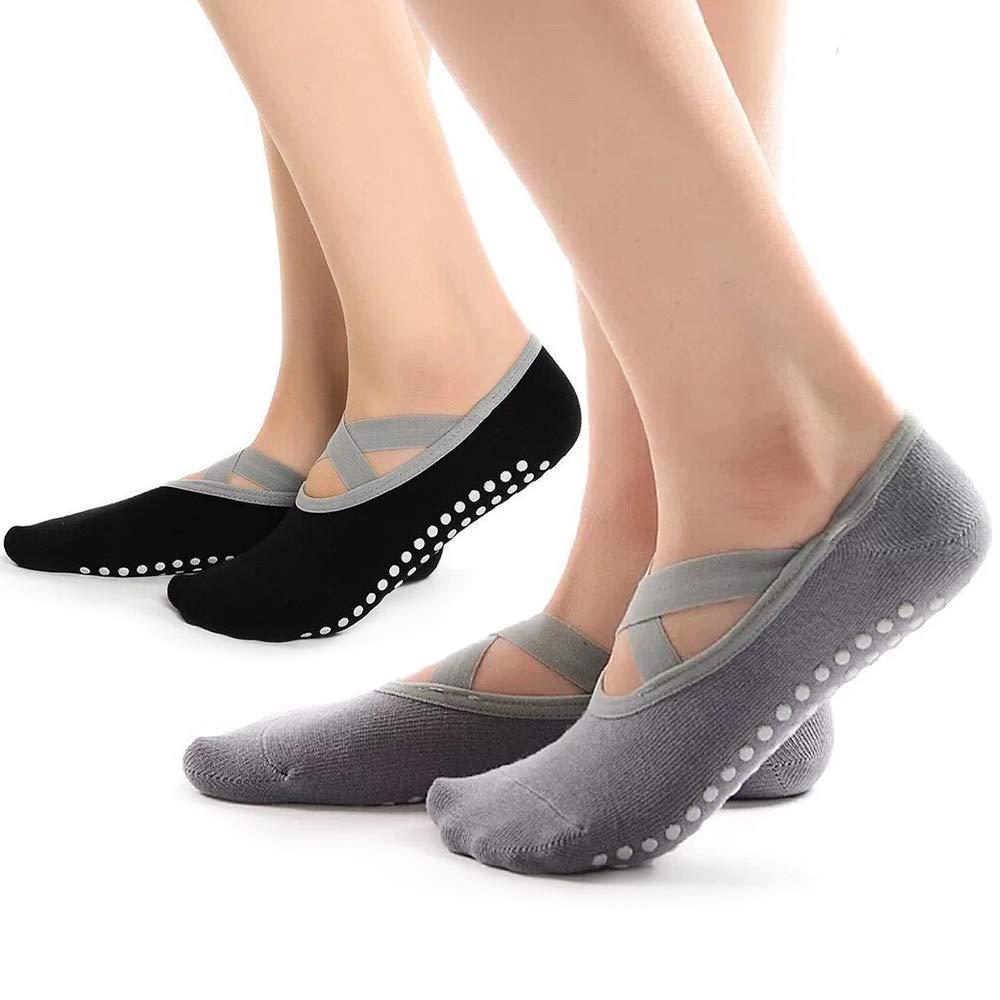 Calcetines de Yoga,Hually 2 Paquetes de Calcetines Antideslizantes para Pilates Ballet Ideales para Pilates Baile Barra con Asas y Correas Negro y Gris Puro para Mujer