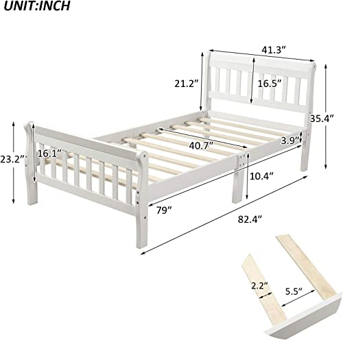 Wateday Wood Platform Bed TBed Frame Panel Bed Mattress Foundation Sleigh Bed