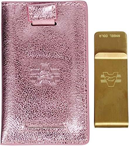 Angel Cola Metallic Genuine Leather Slim Front Pocket Money Clip Holder Wallet