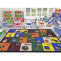 Ottomanson Jenny Collection Childrens Multi Color Educational Alphabet (Non-Slip) Kids Classroom Area Rugs, 33 X 50, Multicolor