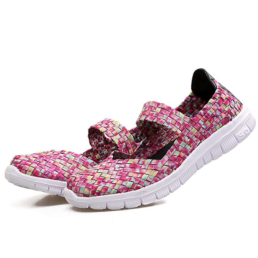 YMY Women's Woven Sneakers Casual Lightweight Sneakers - Breathable Running Shoes B07DXW3QD1 US B(M) 6 Women|Pink1