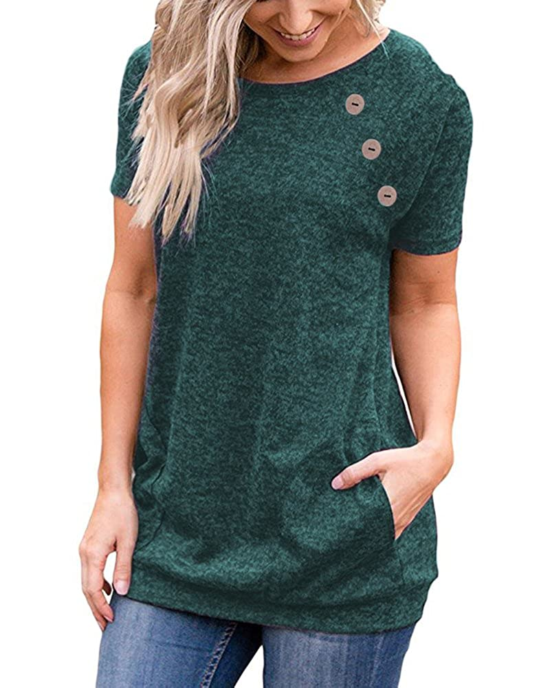 Green LEANI Women's Casual Short Sleeve Solid color Button Decor TShirt Tunic Tops Blouse with Pockets