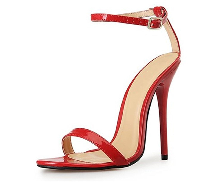 YOGLY Zapatos de Tacón Alto Sandalias de Tacón de Mujer Sexy Peep tToe, Sandalias de Mujer Verano 2018 Elegante 40-46 EU 40 EU|Rojo
