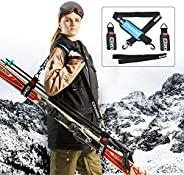 XCMAN Ski Carrier Straps Bonus- Shoulder Sling Cushioned Velcro Holder - Protects Skis Poles from Scratches Da