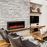 """GMHome 50"""" Electric Fireplace Wall Mounted Heater Freestanding Fireplace Crystal Stone Flame Effect 9 Changeable Flame Color Fireplace, w/Remote, 1500/750 W, Black"""