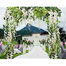 5 Pcs-31ft Artificial Silk Wisteria Flowers Hanging Vine Faux Fake Plants Flowers Hanging Vine Artificial Ivy Leaves Garland Ratta Green leaf Ivy Garland Decor for Kitchen Wedding Home Party(White)