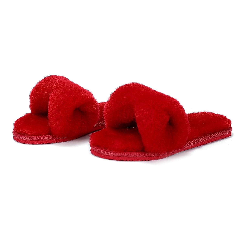 Red L.A.M.B. Lamb Women's Genuine Australian Sheepskin Flip Flops Slippers