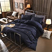 Zhiyuan Button Closure Solid Color Brushed Microfiber Flat Sheet Duvet Cover Pillowcases Set, Queen, Navy