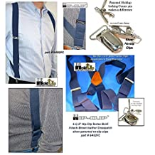 "Blue Trucker Style Hip-clip Holdup Suspenders in 1 1/2"" Wide and No-slip® Clips"