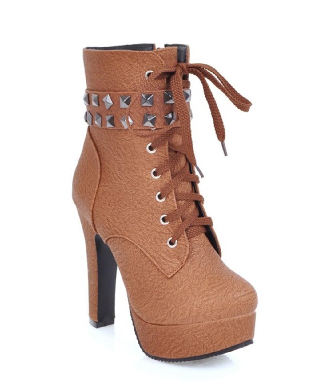 HETAO Tacones de Personalidad Mujeres Botas de Tacón Alto Tobillo Zapatos de Tacón Alto de la Plataforma Temperamento Elegante Zapatos 43 EU|Light Brown
