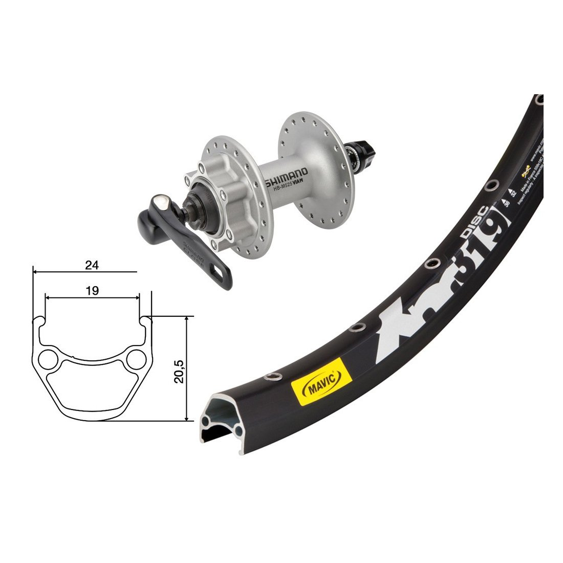Bike-Parts 27,5´´ Vorderrad Mavic XM 319 Disc + Shimano Deore 6-Loch (QR)